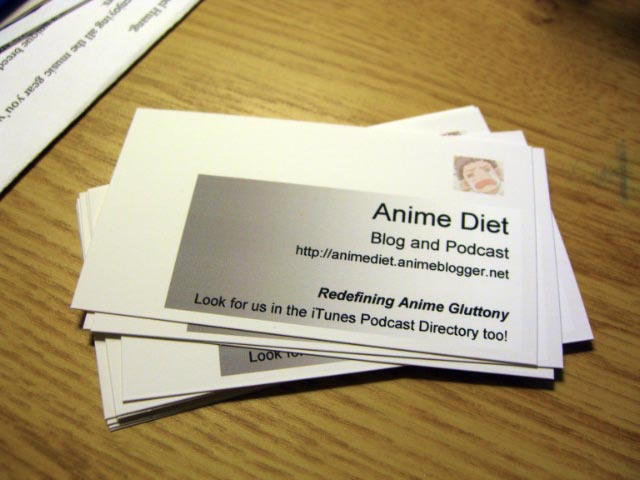 This is how I'm pimpin' this website at the con, yo. Custom business cards FTW!