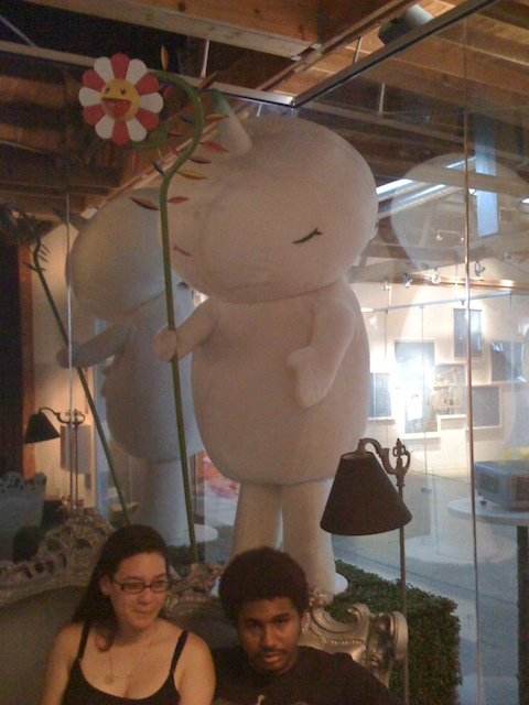 A Murakami sculpture with his trademark smiley-face flower