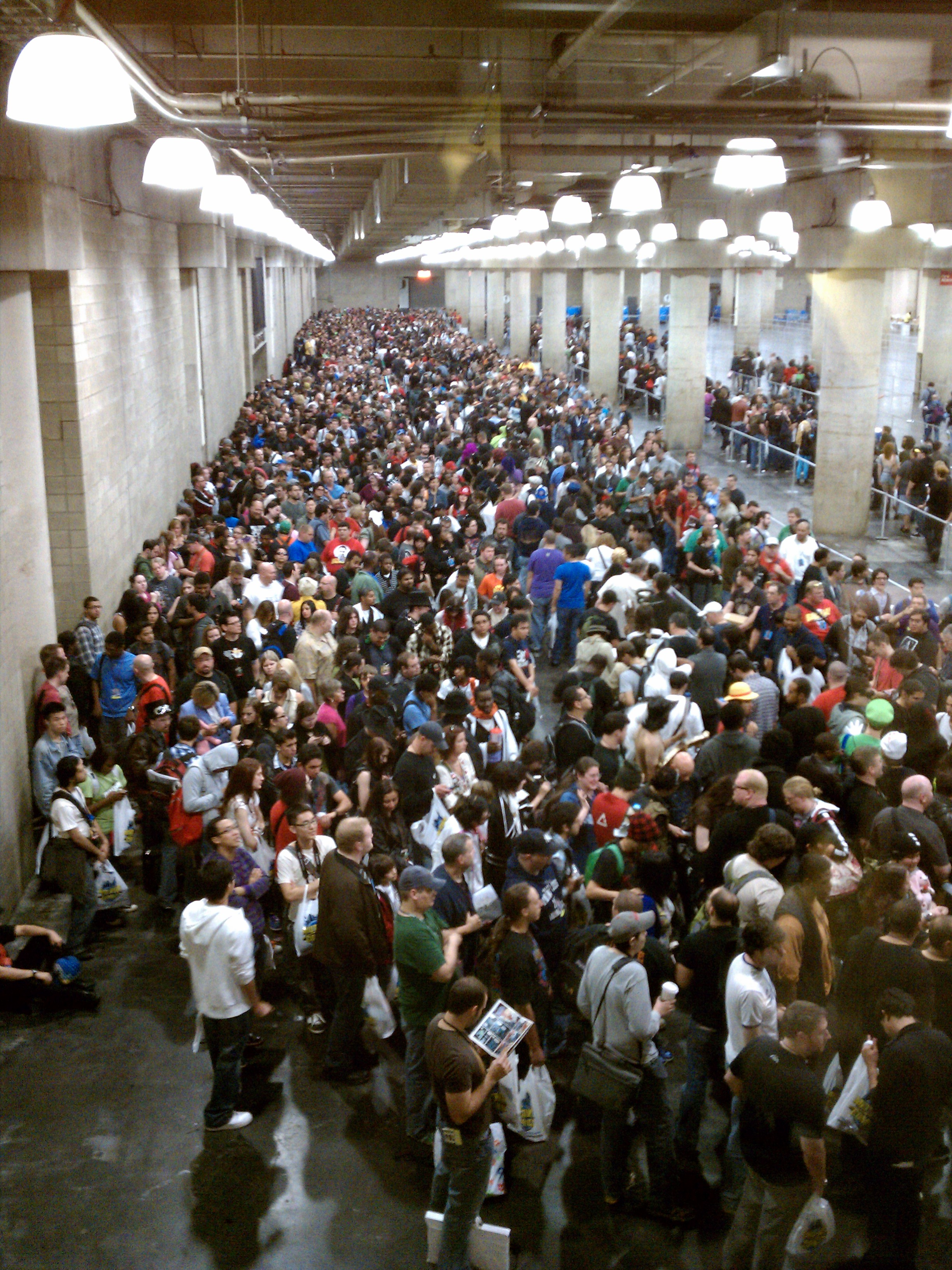 The line to enter the convention Friday morning.