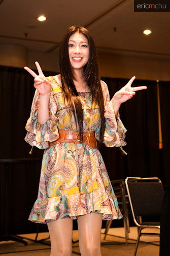 Minorin posing at her Spotlight Panel. Photograph by Eric M. Chu.